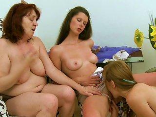 Horny Lesbians Having A Rough Threesome