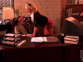 Schoolgirl Seduces In His Office