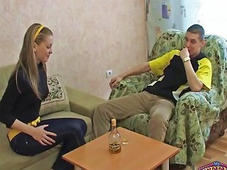 Teen In High Heels Fucked On The Couch
