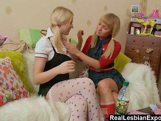 Lesbian Schoolgirls Do Some Anal Exploration